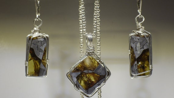 Fukang Pallasite Meteorite Earring and Pendant Set