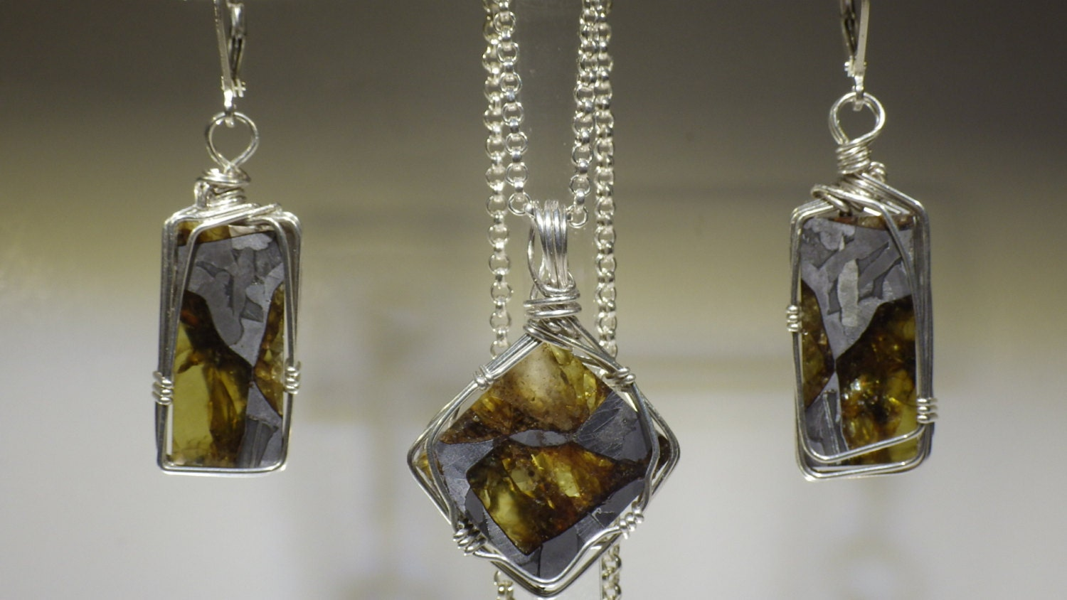 Fukang Pallasite Meteorite Earring And Pendant Set