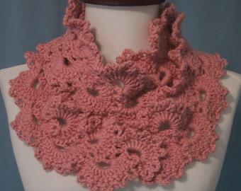 Lacy Scarf - Dusty Pink - Fashion Accessory - Hand Crocheted - Soft Acrylic Yarn - Handmade - Spring Fashions