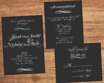 Wedding Invitation Set Digital Files Calligraphic Calligraphy Chalkboard