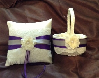 White or ivory custom made ring pillow and basket