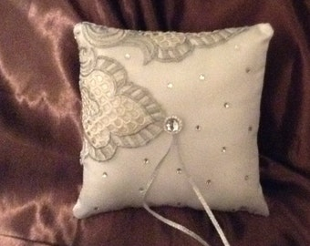 Embroidery white with flower satin ring bearer pillow