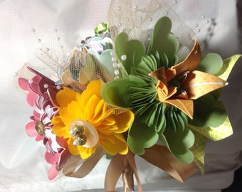 Origami Fall Flower Centerpiece bouquet With 8 Tropical Colored Flowers