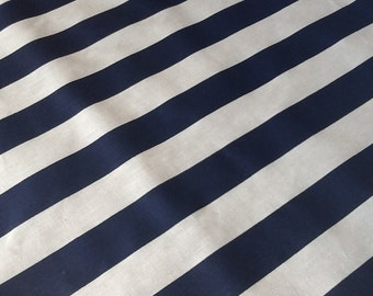 Navy Blue / White Stripes Cotton Fabric, One Yard (x60), Nautical more available