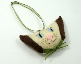 Christmas Cat Ornament, Felt Cat Ornaments, Beautiful Cat Ornaments, Christmas Cats, Cat Bowtie, Felt Cat Head, Blue Eyed Cat, ECLAIR