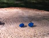 Raw Cavansite Stud Earrings