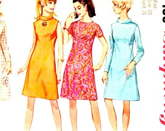 60s Simplicity 7199 A Line Dress with HIgh Neckline or BIas Collar Size 10 Bust 31