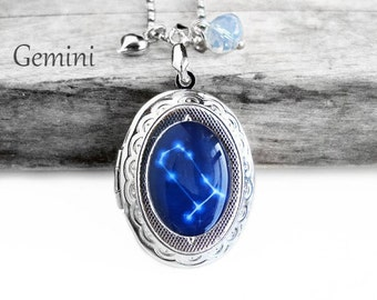 """Get 15% OFF - Handmade Resin """"Gemini"""" Constellation Sign Silver Oval Locket Pendant Necklace - Father's Day SALE 2017"""