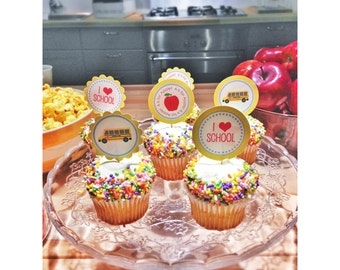 INSTANT Download-Back to School Cupcake Toppers-Circle Labels -Printable PDF