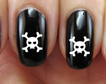 Set of 52 Skull and Crossbones Teeth Skull Skeleton Bones Vinyl Nail Decal Stickers (Multiple Colors Available) Halloween Scary
