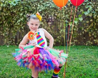 Rainbow Petti Tutu only - Rainbow Tutu - Rainbow sewn petti tutu - NB - 7X