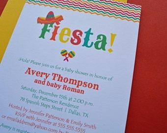 Chevron fiesta baby shower printed invitations - Digital Version Available