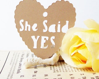 25 She Said YES Tags, Gift Tags, Shower Favor Tags, Favor Tags, Heart Tags, Wedding Tags