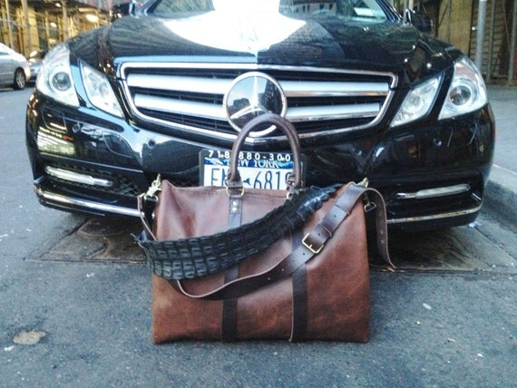 Gates Flight Bag / Leather Duffle Bags / Large Leather Travel Bag / Travel Duffle Bag / Mens Luggage / Mens Leather Overnight Weekend Bags
