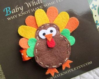 Thanksgiving Hair Clip, Turkey Hair Clip, Baby Hair Clippies, Girl Barrette, hcholiday03