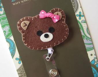 Retractable ID Badge Holder, Brown Bear ID Badge Reel, Nurse, Doctor, Teacher, idbear42