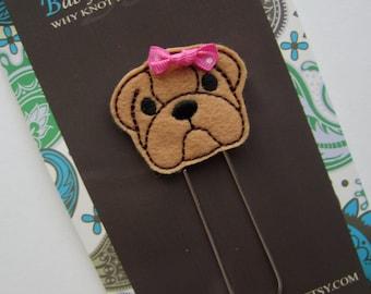 Extra LARGE Paperclip Bookmark, Bulldog Bookmark, Felt Bookmark, Paperclips, Jumbo Paper Clip, Filofax, Planner Clips, Calendar, bmbulldog40