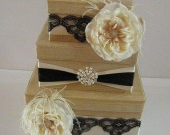 Wedding Card Box Money Holder Custom Made to Order - Gold and Black