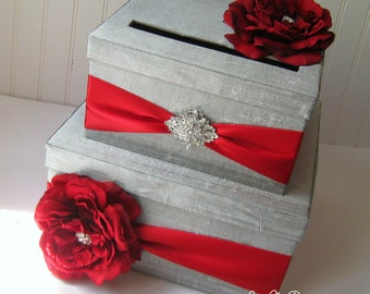 Wedding Card Boxes Custom Made Money Holder - Silver and Red