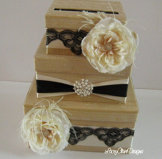 Unique Wedding Card Holders: Wedding Card Box Money Holder Custom Made To Order Gold And