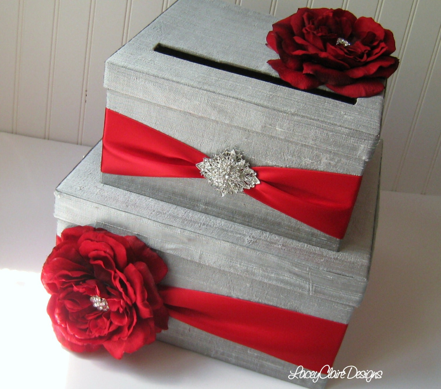 Unique Wedding Card Holders: Wedding Card Boxes Custom Made Money Holder Silver And Red