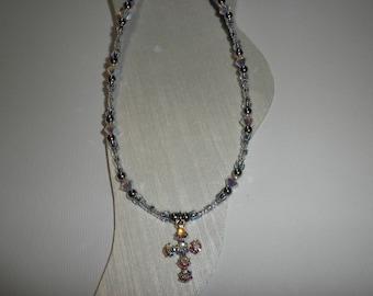 Crystal AB Cross Ankle Bracelet