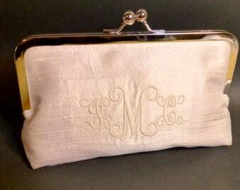 Bridal Clutch or Bridesmaids Clutch Dupioni Silk Monogrammed Clutch CUSTOMIZE