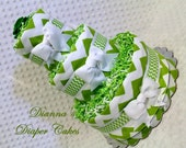 Lime Chevron Baby Diaper Cake Bowties Shower Gift or Centerpiece