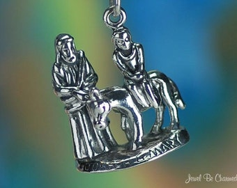 Sterling Silver Joseph and Mary Bethlehem Charm Christian 3D Solid 925