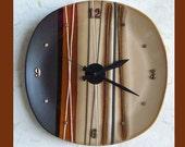 Wall Plate Clock Stripe Brown Tones
