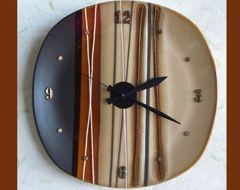 Wall Plate Clock Stripe Brown Tones