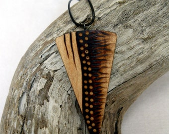 Wooden Necklace - Tribal, Wooden Pendant, Pyrography Necklace, Earthy, Organic, Outdoorsy