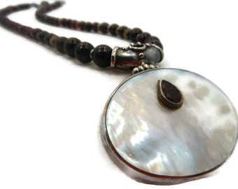 Garnet Statement Necklace with Mother of Pearl
