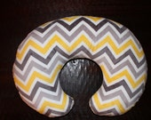 SALE-all Minky multi gray chevron with yellow minky boppy cover with zipper- Ships Today