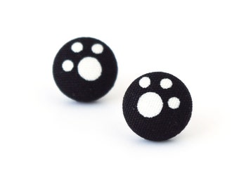 Paw stud earrings - footprint fabric earrings - animal print button earrings cat dog black white