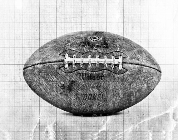 Black And White Sports Posters: Vintage Football Black And White Graph Photo Print Boys