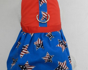 Custom July 4th Patriotic USA Flag Stars Harness Dress. Perfect for your Cat, Dog or Ferret.