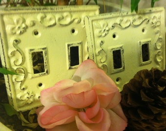 Cast Iron Light Switch Plates, Shabby Chic Plates - Set of Two
