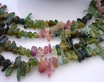 Amazing watermelon & green  tourmaline crystal stick beads 3-10mm 1/2 strand