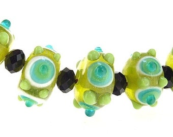 Hole 2.5mm 5Beads Green Dot Olive  Lampwork bead  Handmade jewelry designs  European Style
