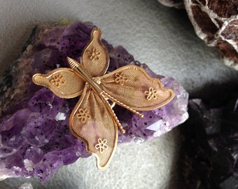 Gold Mesh Butterfly Brooch