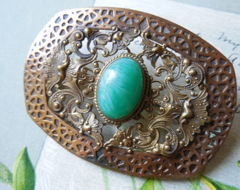 FISHEL NESSLER Signed Arts & Crafts Brooch w/ Green Cabochon    JAK9