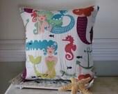 Embroidered Mermaid Pillow - Beach Decor - Whimsical Mermaid Fabric
