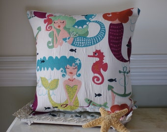 Embroidered Mermaid Pillow - Beach Decor - Whimsical Mermaid Fabric
