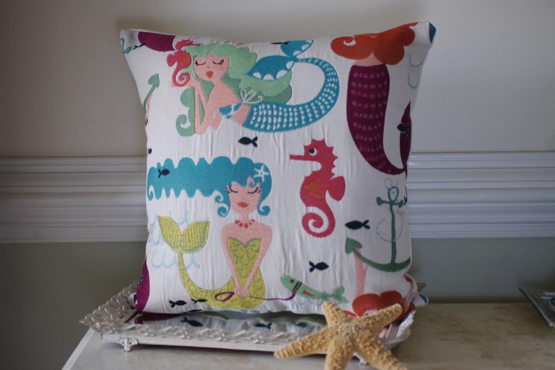 Embroidered Mermaid Pillow Beach Decor Whimsical Mermaid