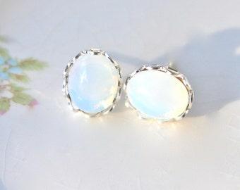 White Opal Glass Silver Scalloped Prong Rhinestone Post Earrings - Christmas, Wedding, Bridal, Bridesmaid