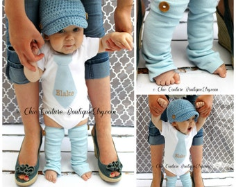 NEW Baby Boy 1st Birthday Outfit. Blue Herringbone Personalized Tie Bodysuit & Wood Button Leg Warmers SET. Cake Smash Outfit Prop Easter