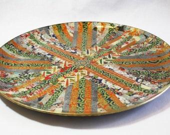 Sunburst Asian Quilt Decoupaged Glass Platter