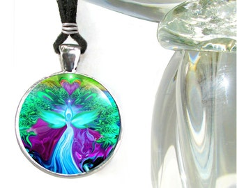 Teal Jewelry Angel Necklace Reiki Healing Energy Pendant Necklace