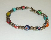Vintage Sterling 925 Silver & Venetian Glass Trade Beads Bracelet